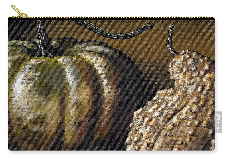 Art Carry-all Pouch featuring the painting Harvest Gourds by Adam Zebediah Joseph