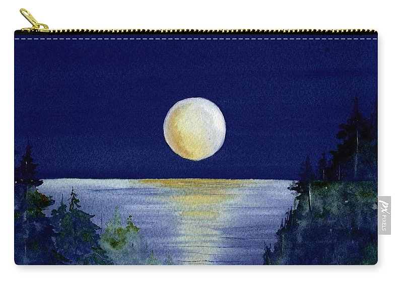 Watercolor Carry-all Pouch featuring the painting Harvest Moon by Brenda Owen