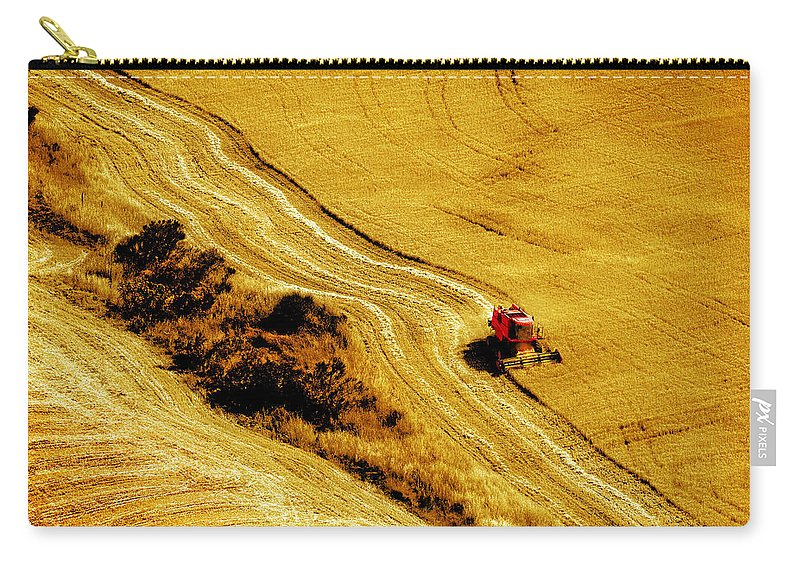 Combine Carry-all Pouch featuring the photograph Harvesting The Crop by Mal Bray