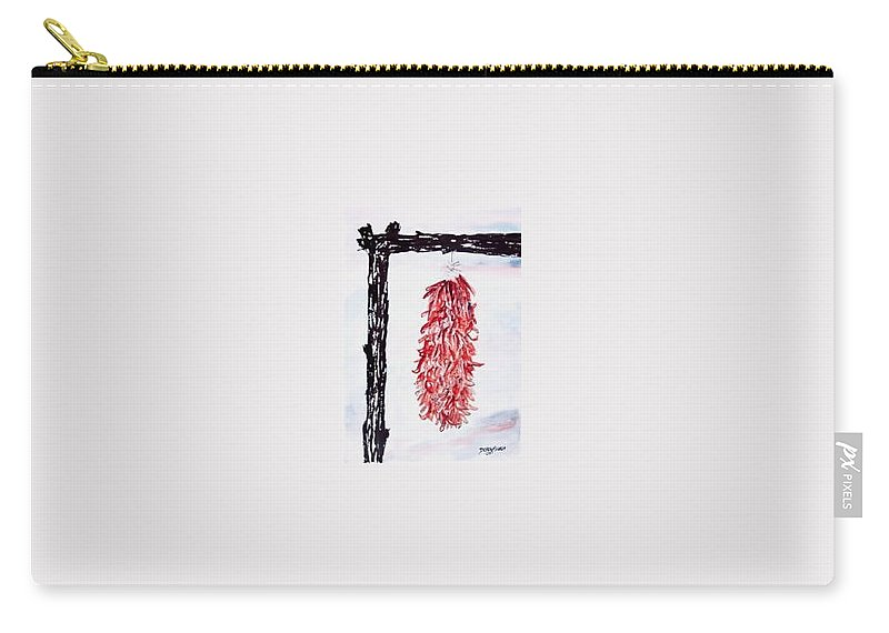 Watercolor Painting Carry-all Pouch featuring the painting Hatch Texas Chili Pepper Painting by Derek Mccrea