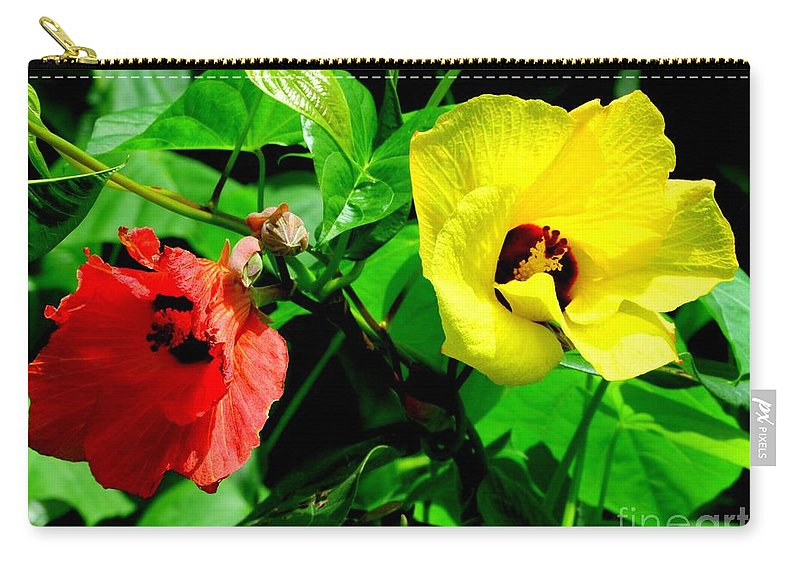 Red Carry-all Pouch featuring the photograph Hau Tree Blossoms by Mary Deal