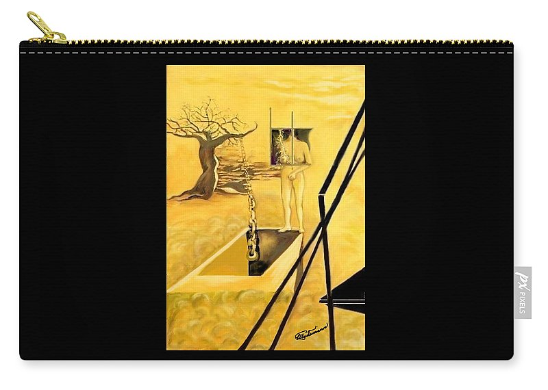 Surrealism Carry-all Pouch featuring the drawing Haunted Dreams by Elly Potamianos