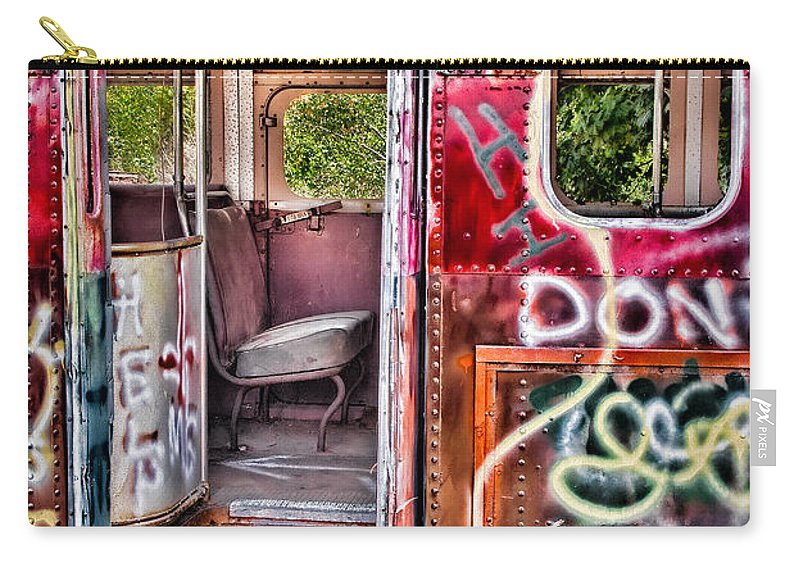 Graffiti Carry-all Pouch featuring the photograph Haunted Graffiti Art Bus by Susan Candelario