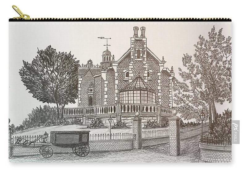 House Carry-all Pouch featuring the drawing Haunted Mansion by Tony Clark