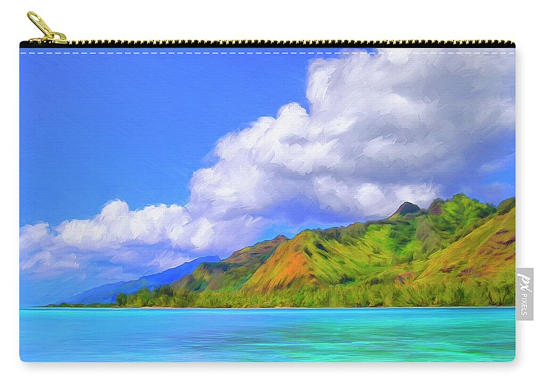 Hauru Point Carry-all Pouch featuring the painting Hauru Point Moorea by Dominic Piperata