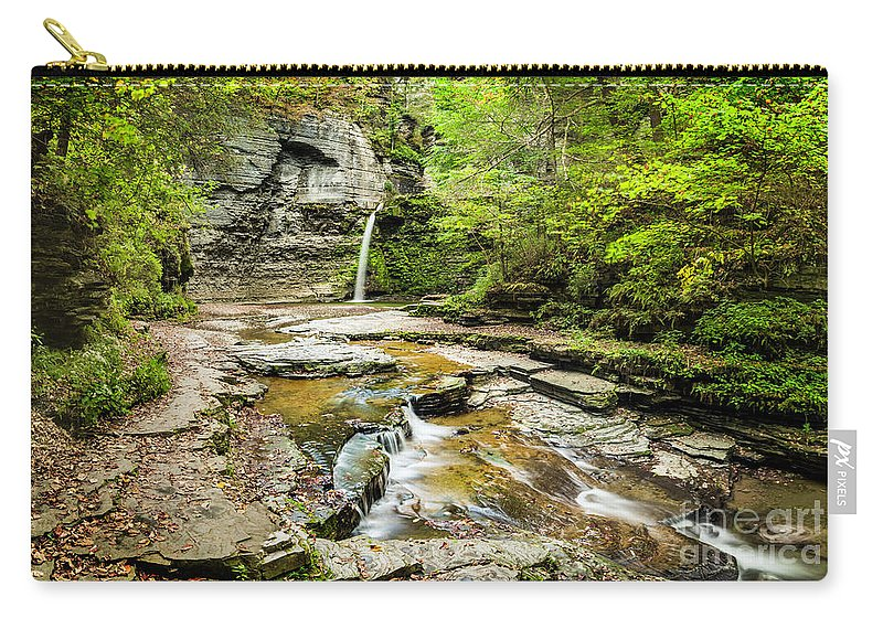 New York Carry-all Pouch featuring the photograph Eagle Falls by Karen Jorstad
