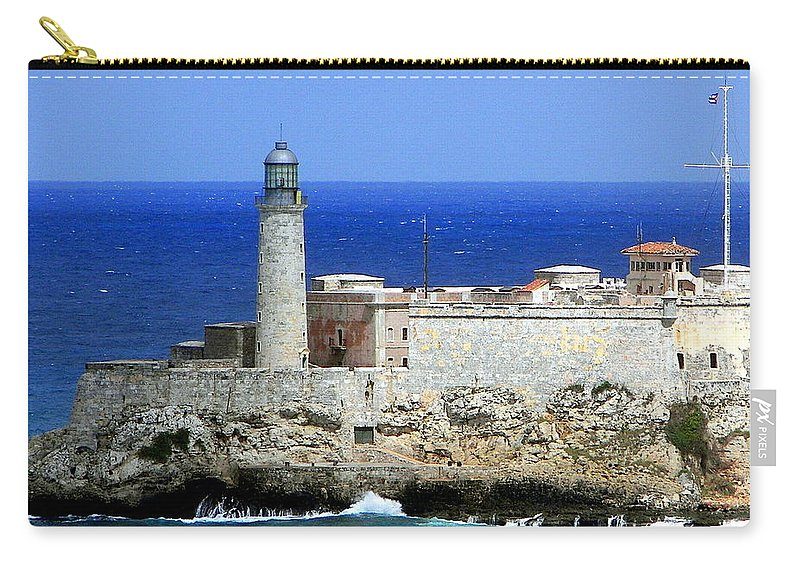Cuba Carry-all Pouch featuring the photograph Havana Harbor Lighthouse by Karen Wiles