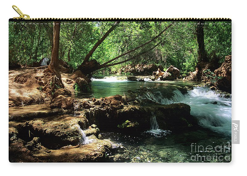 Havasupai Carry-all Pouch featuring the photograph Havasu Creek In Campground by Kathy McClure