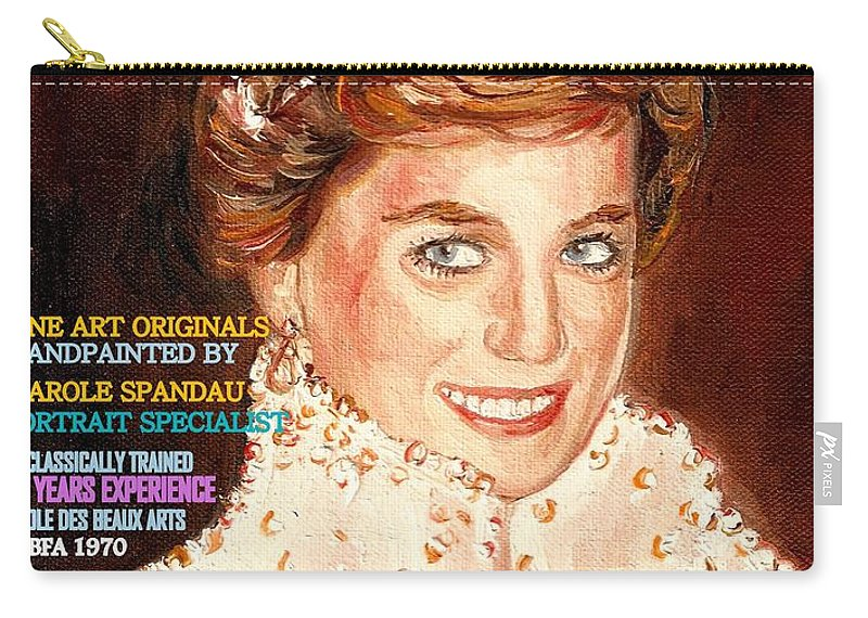 Commissioned Portraits Carry-all Pouch featuring the painting Have Your Portrait Painted Contact Carole Spandau 30 Years Experience by Carole Spandau