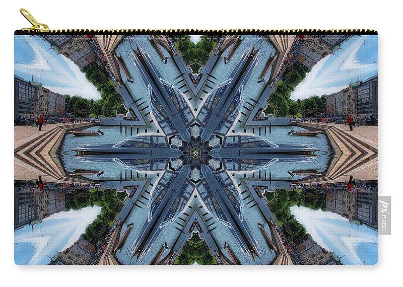 #street#helsinki#abstract#digital#sky#colours#travel#sea#haven#city# Carry-all Pouch featuring the digital art Haven - Helsinki... by Aleksandrs Drozdovs