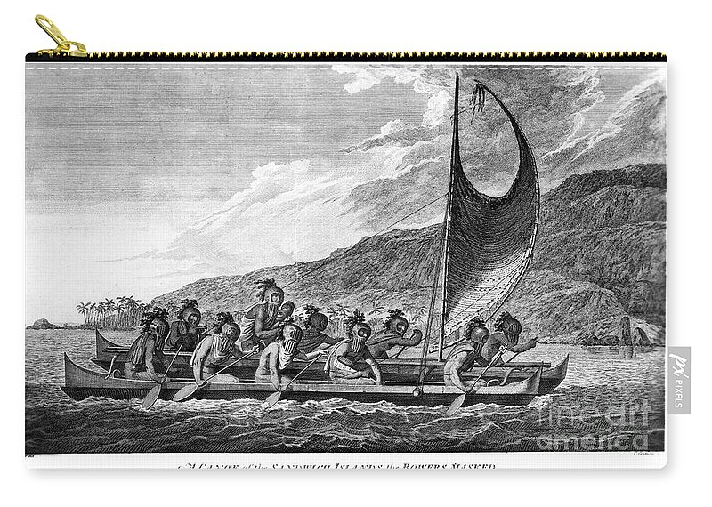1779 Carry-all Pouch featuring the photograph Hawaii: Canoe, 1779 by Granger
