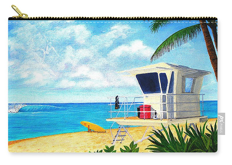 Hawaii Carry-all Pouch featuring the painting Hawaii North Shore Banzai Pipeline by Jerome Stumphauzer