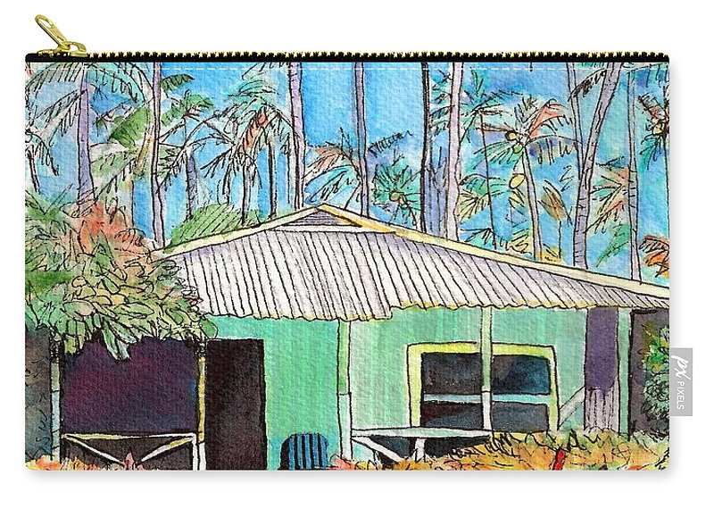 Cottage Carry-all Pouch featuring the painting Hawaiian Cottage I by Marionette Taboniar