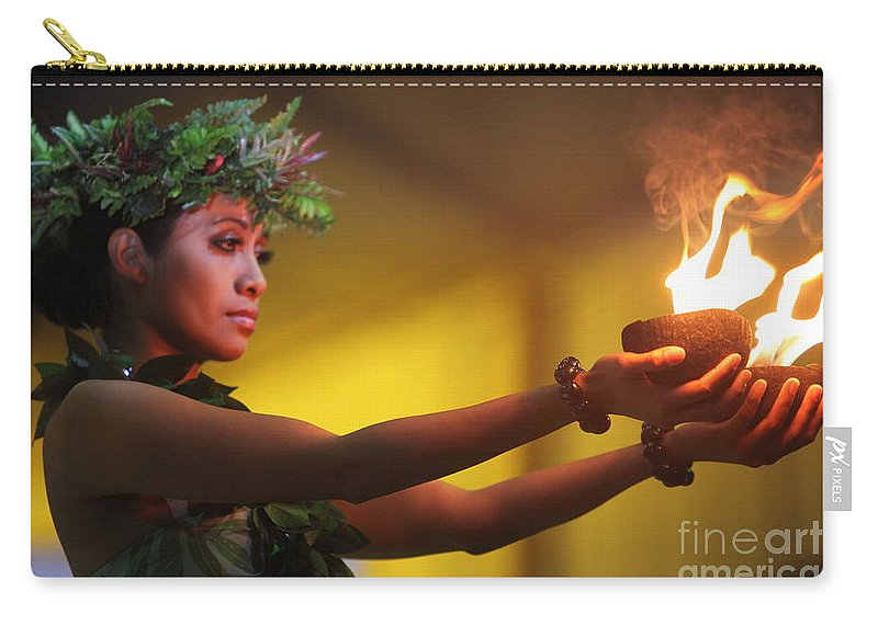 Fire Carry-all Pouch featuring the photograph Hawaiian Dancer and Firepots by Nadine Rippelmeyer