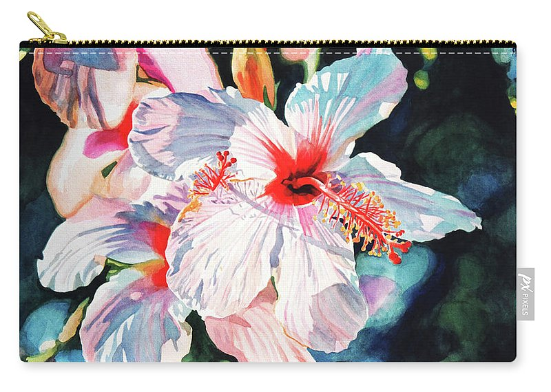 Hibiscus Carry-all Pouch featuring the painting Hawaiian Hibiscus by David Lloyd Glover
