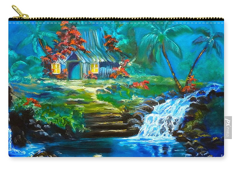 Waterfalls Carry-all Pouch featuring the painting Hawaiian Hut And Waterfalls by Jenny Lee