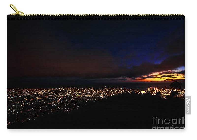 Hawaii Carry-all Pouch featuring the photograph Hawaiian Night Tantalus Lookout by Benny Marty