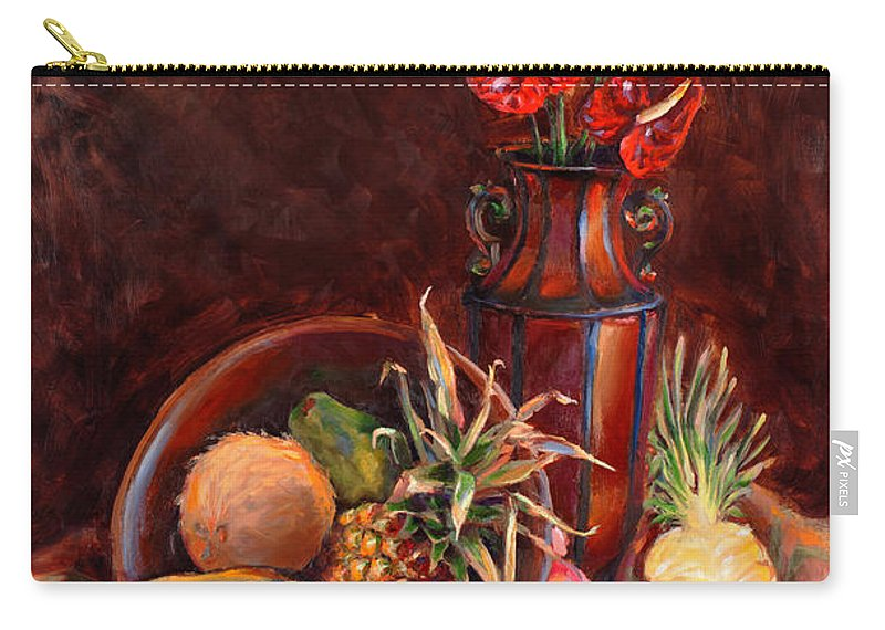 Hawaii Carry-all Pouch featuring the painting Hawaiian Tropical Fruit Still Life by Karen Whitworth