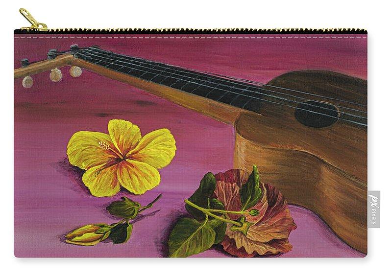 Hawaiian Ukulele Carry-all Pouch featuring the painting Hawaiian Ukulele by Darice Machel McGuire
