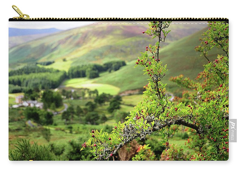Jenny Rainbow Fine Art Photography Carry-all Pouch featuring the photograph Hawthorn Branch With View To Wicklow Hills. Ireland by Jenny Rainbow