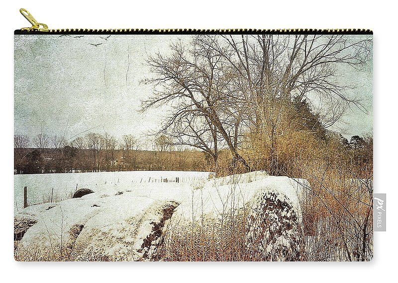 Photography Carry-all Pouch featuring the photograph Hay Bales In Snow by Melissa D Johnston