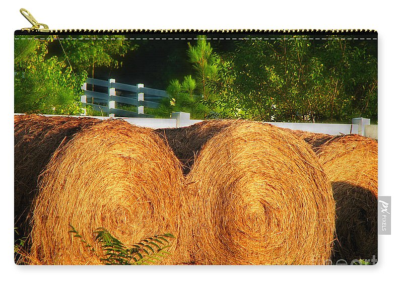 Landscape Carry-all Pouch featuring the photograph Hay Bales by Todd A Blanchard