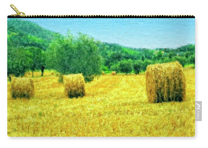 Hay Harvest In Tuscany Carry-all Pouch featuring the painting Hay Harvest In Tuscany by Dominic Piperata