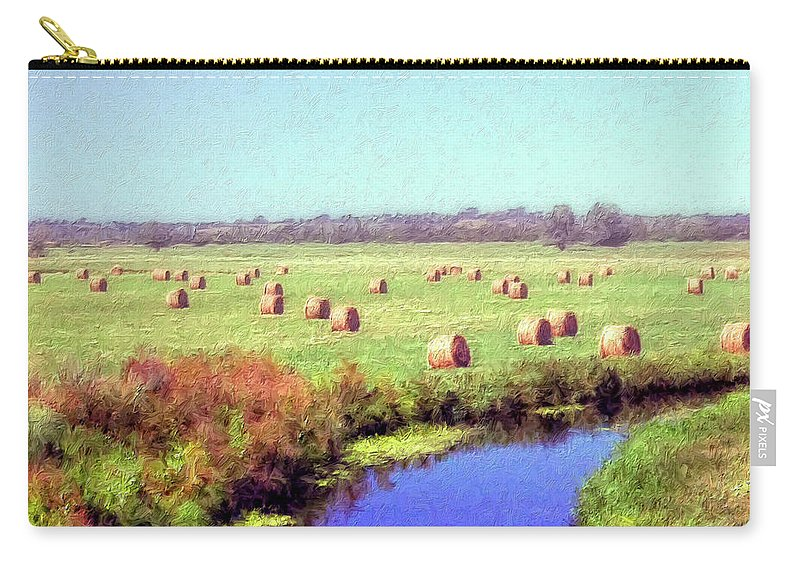 Hay Rolls Carry-all Pouch featuring the painting Hay Rolls by Dominic Piperata