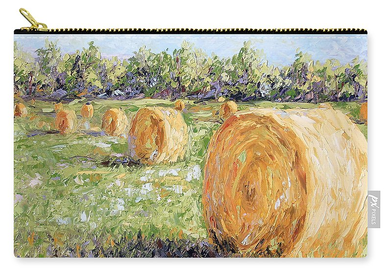 Hay Carry-all Pouch featuring the painting Hay Rolls by Lewis Bowman