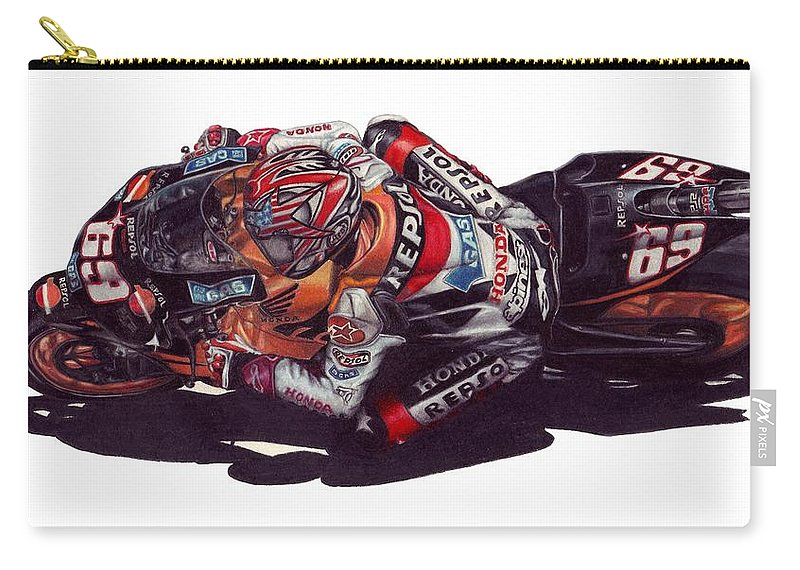 Nicky Hayden Carry-all Pouch featuring the drawing Hayden by Kristen Wesch