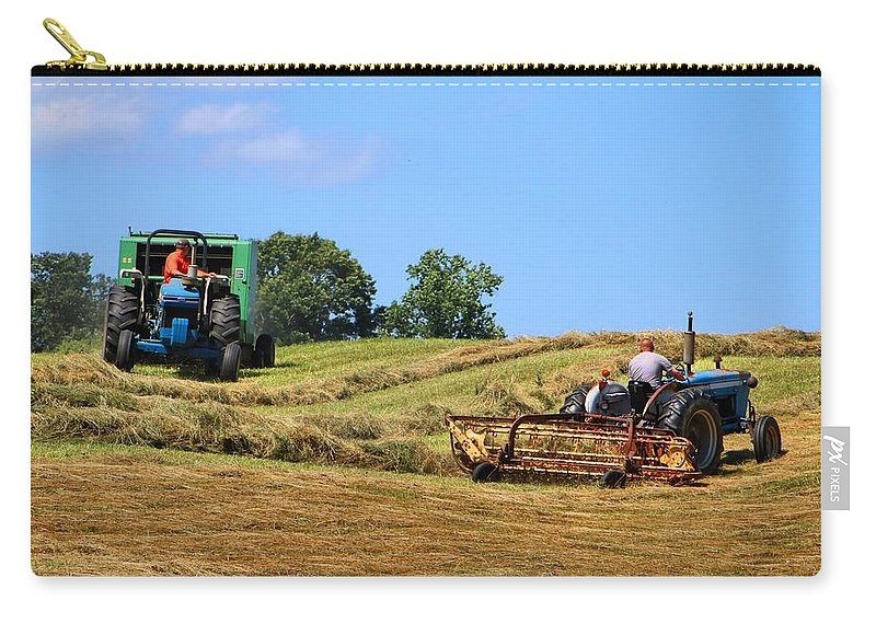 Hay Carry-all Pouch featuring the photograph Haying The Field 1 by Kathryn Meyer