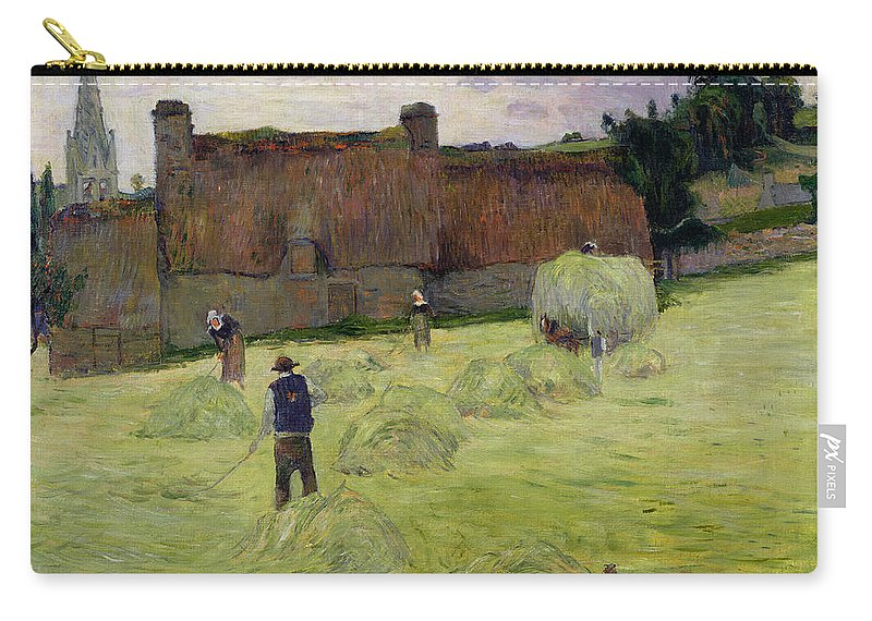 Haymaking In Brittany Carry-all Pouch featuring the painting Haymaking In Brittany by Paul Gauguin