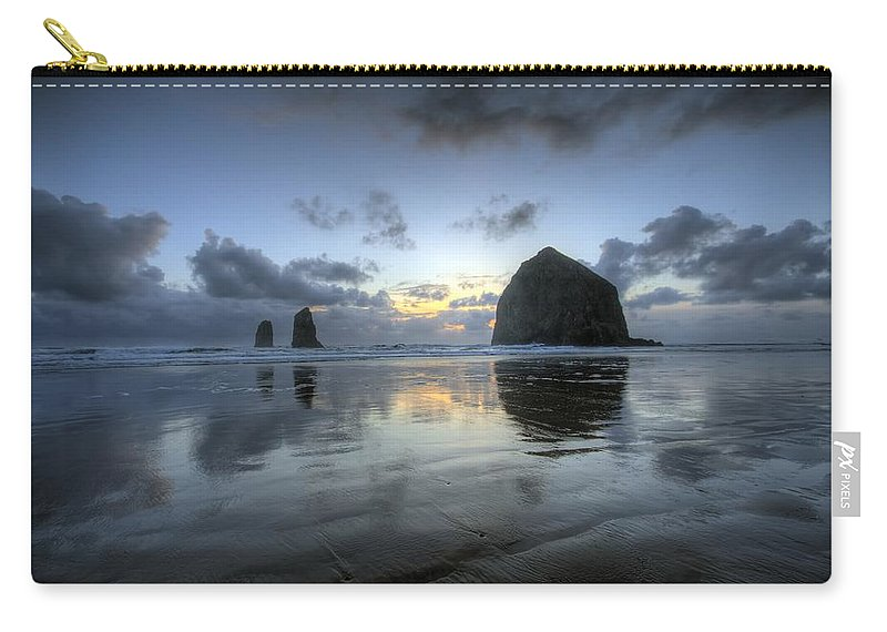 Hdr Carry-all Pouch featuring the photograph Haystacks At Sunset by Brad Granger