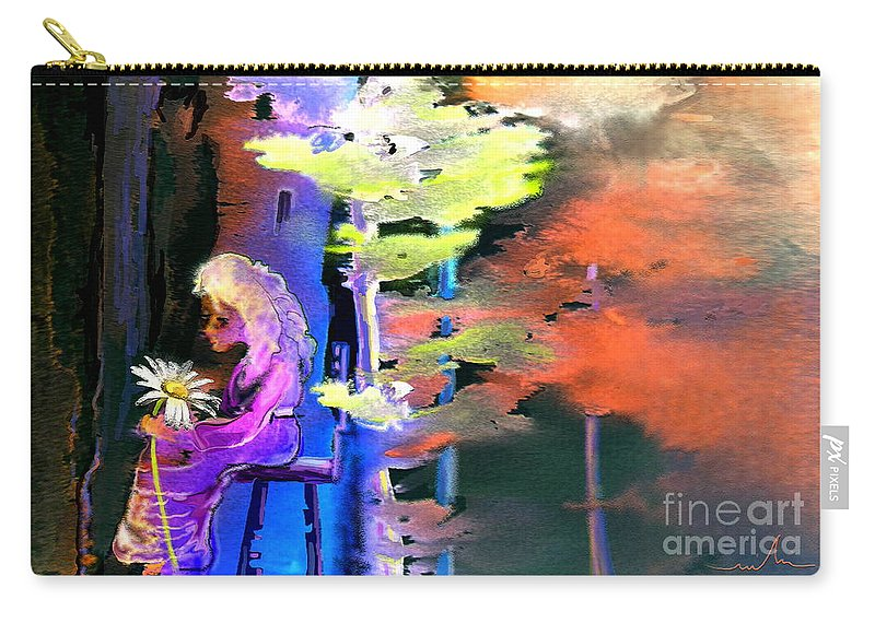 Dream Carry-all Pouch featuring the painting He Loves Me He Loves Me Not by Miki De Goodaboom