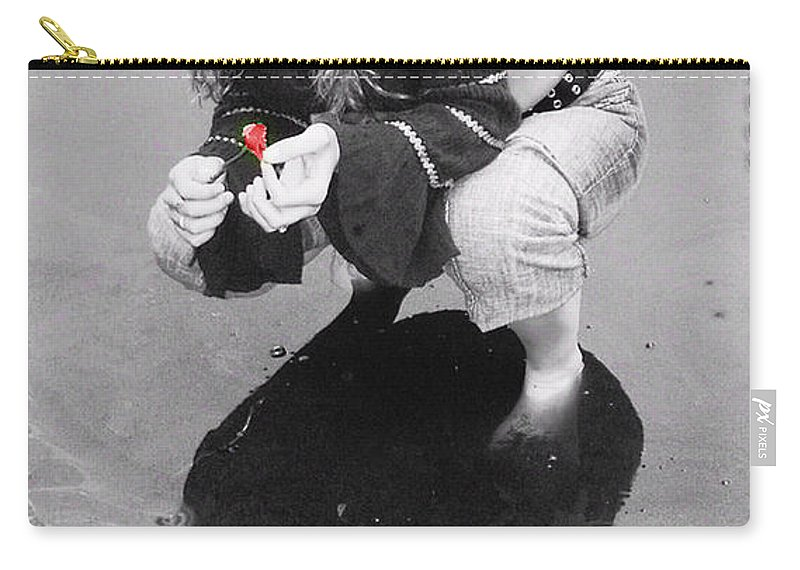 Black And White Carry-all Pouch featuring the photograph He Loves Me Not by Kristie Bonnewell