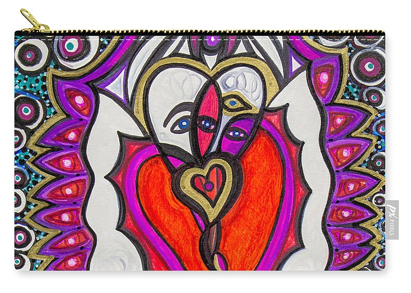 Heart Carry-all Pouch featuring the painting He She Heart by Laurel Rosenberg