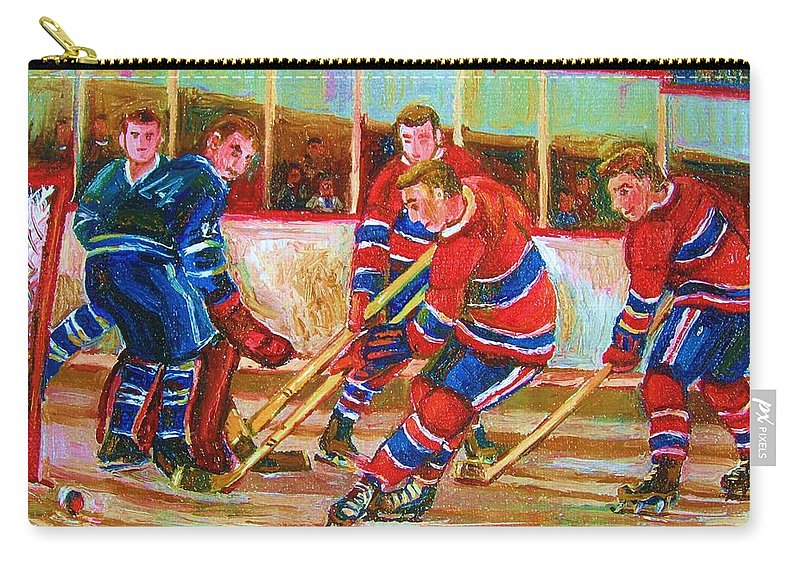 Hockey Carry-all Pouch featuring the painting He Shoots  He Scores by Carole Spandau