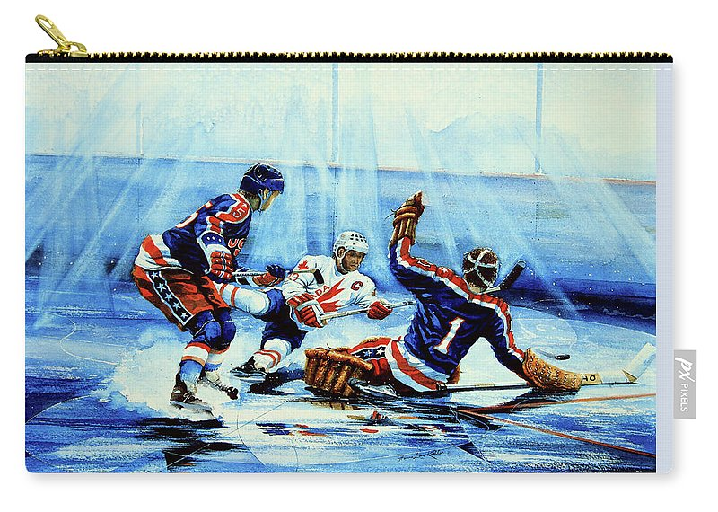 Hockey Carry-all Pouch featuring the painting He Shoots by Hanne Lore Koehler
