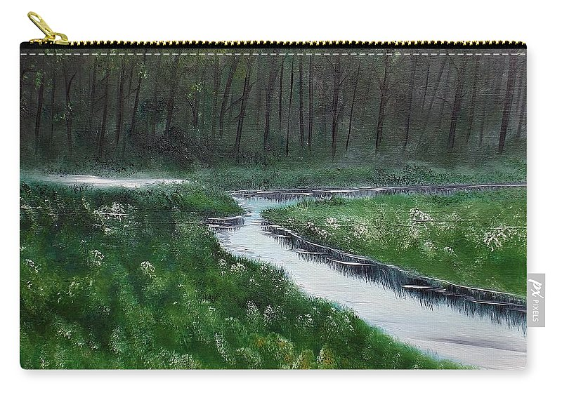 Landscape Carry-all Pouch featuring the painting Head For The Forest by Lisa Aerts