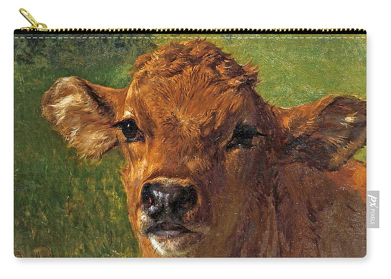Rosa Bonheur Carry-all Pouch featuring the painting Head Of A Calf by Rosa Bonheur