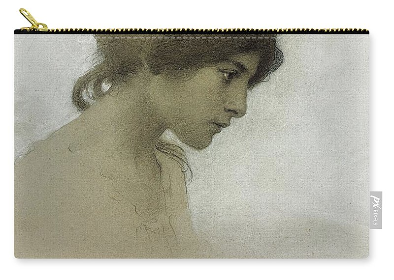 Head Of A Girl (pencil & Chalk On Paper) Female; Portrait; Young Girl; Profile; Drawing; Ethereal Beauty; Sketch Carry-all Pouch featuring the drawing Head Of A Girl by Franz Dvorak