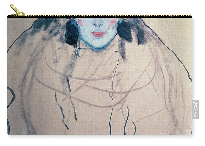 Klimt Carry-all Pouch featuring the drawing Head Of A Woman by Gustav Klimt