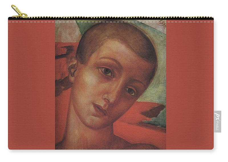 Head Of A Youth Kuzma Petrov-vodkin - 1910 Carry-all Pouch featuring the painting Head Of A Youth Kuzma Petrov-vodkin - 1910 by Adam Asar