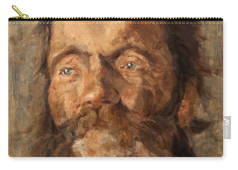 Portrait Carry-all Pouch featuring the painting Head of an old Man by Darko Topalski