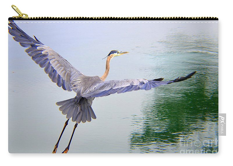 Heron Carry-all Pouch featuring the photograph Heading For The Treetops by Mary Deal