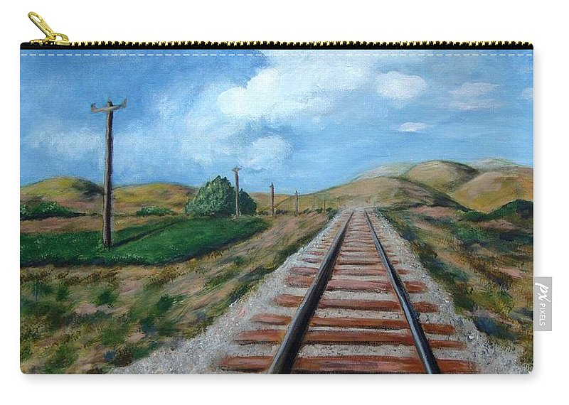 Railroad Tracks Carry-all Pouch featuring the painting Heading In The Right Direction by Laurie Morgan