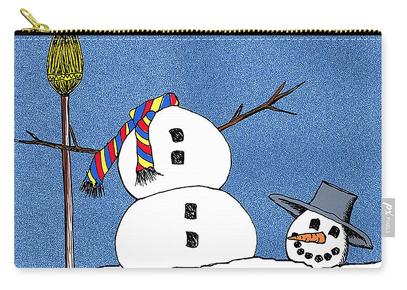 Snowman Carry-all Pouch featuring the digital art Headless Snowman by Nancy Mueller
