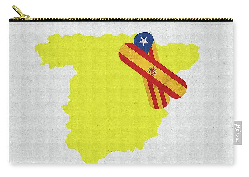 Catalonia Carry-all Pouch featuring the digital art Heal Spain And Catalonia by Sergio Lacueva