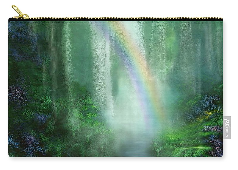 Waterfall Art Carry-all Pouch featuring the mixed media Healing Grotto by Carol Cavalaris