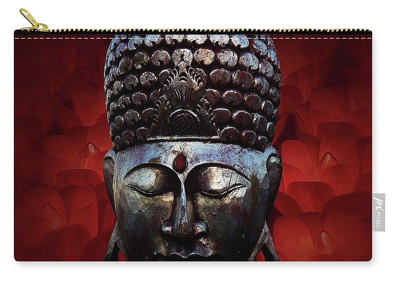 Buddha Head Carry-all Pouch featuring the photograph Healing Lights 3 by Xueling Zou
